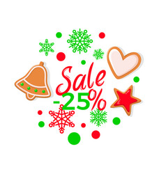 sale 25 percents bright christmas cookies vector image