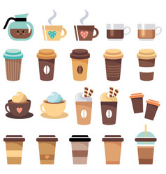set cups and glasses with coffee vector image