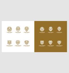 set lion head shield logo vector image