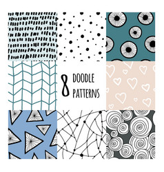 set with 8 simple minimalistic seamless patterns vector image