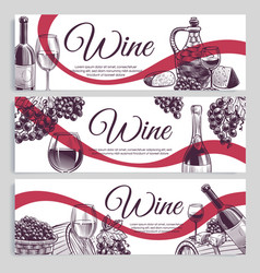 sketch wine banners classic alcoholic drink vector image