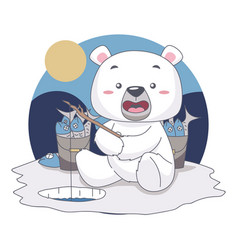 snow bear fishing want to eat fish in food vector image