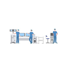 surgeons team preparing to surgical operation in vector image