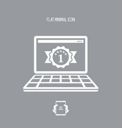 Top rated computer - flat minimal icon vector