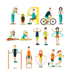 training outside people flat icon set vector image vector image