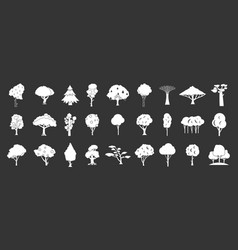 tree icon set grey vector image