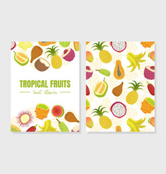 tropical fruits sweet vitamins card template with vector image