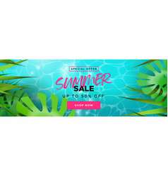 tropical summer season sale banner for discount vector image
