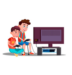 Two children boy play a video game vector