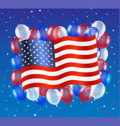 united states america flag with balloon vector image