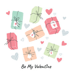 valentines day greeting card design - gifts vector image