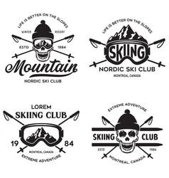Vintage ski or winter sports logos badges vector
