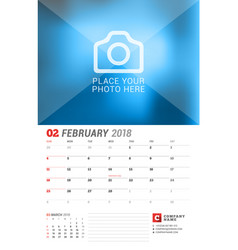 Wall calendar planner for 2018 year february vector