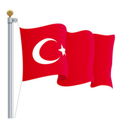 Waving turkey flag isolated on a white background vector