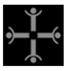 white halftone hands up men icon vector image