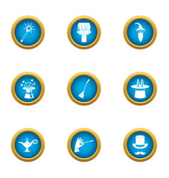 Whoo icons set flat style vector