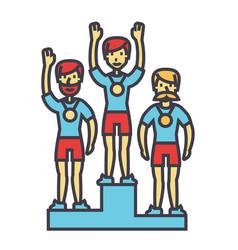 Winner podium sport team first place olympics vector