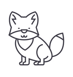wolf line icon sign vector image