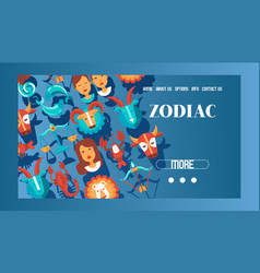 zodiac signs banner web design vector image