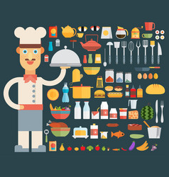 chef cooking kitchen tools set flat vector image
