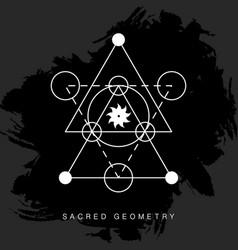 sacred geometry sign on black grunge background vector image