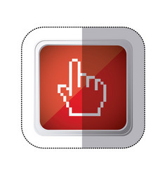 sticker red square button with silhouette vector image vector image