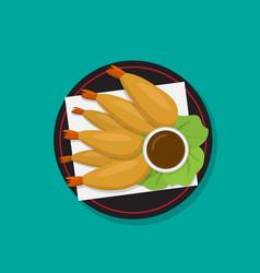 tempura shrimp on black dish japanese food vector image vector image