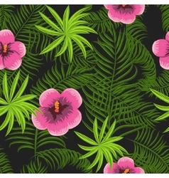 Tropical jungle palm leaves hibiscus pattern vector image vector image