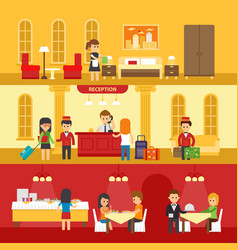 hotel interior with people and hotel service vector image vector image