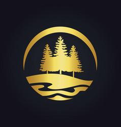 pine tree mountain hill gold logo vector image
