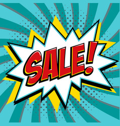 sale banner in pop art comic style on a blue vector image vector image