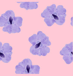beautiful orchid violet flowers on pink vector image vector image