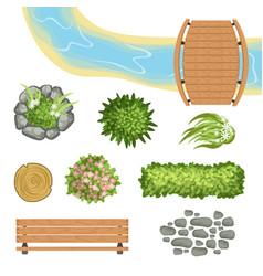 flat set of landscape elements wooden vector image