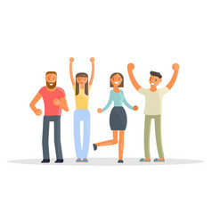 happy group of students vector image vector image