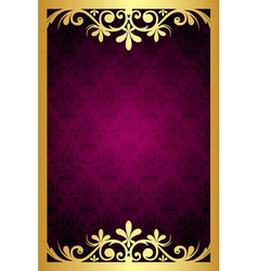 maroon frame with gold ornament vector image vector image