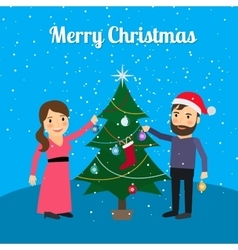 Merry Christmas card with happy couple vector image