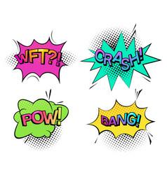 pow sound and wtf comic bubble speech crash wtf vector image