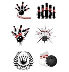 Bowling sports emblems and symbols vector image vector image