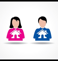Male and Female thinking about their home vector image vector image