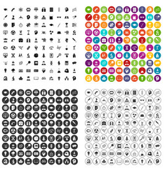100 science brainstorm icons set variant vector image