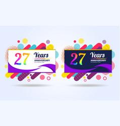 27 years pop anniversary modern design elements vector