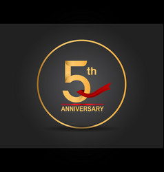 5 anniversary design golden color with ring vector
