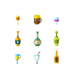alcohol drink glasses icons vector image