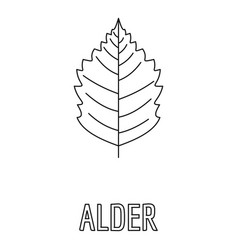 alder leaf icon outline style vector image