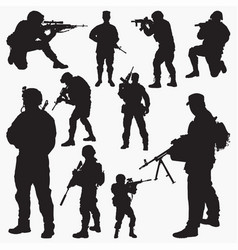 army silhouettes vector image