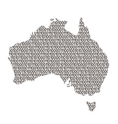 australia map abstract schematic from black ones vector image