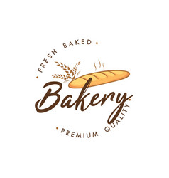 Baguette bakery and dessert logo sign icon vector