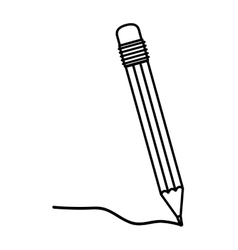 Black silhouette pencil with eraser and writing vector