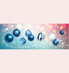 Blue christmas balls on colorful winter background vector