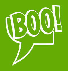 Boo comic text speech bubble icon green vector